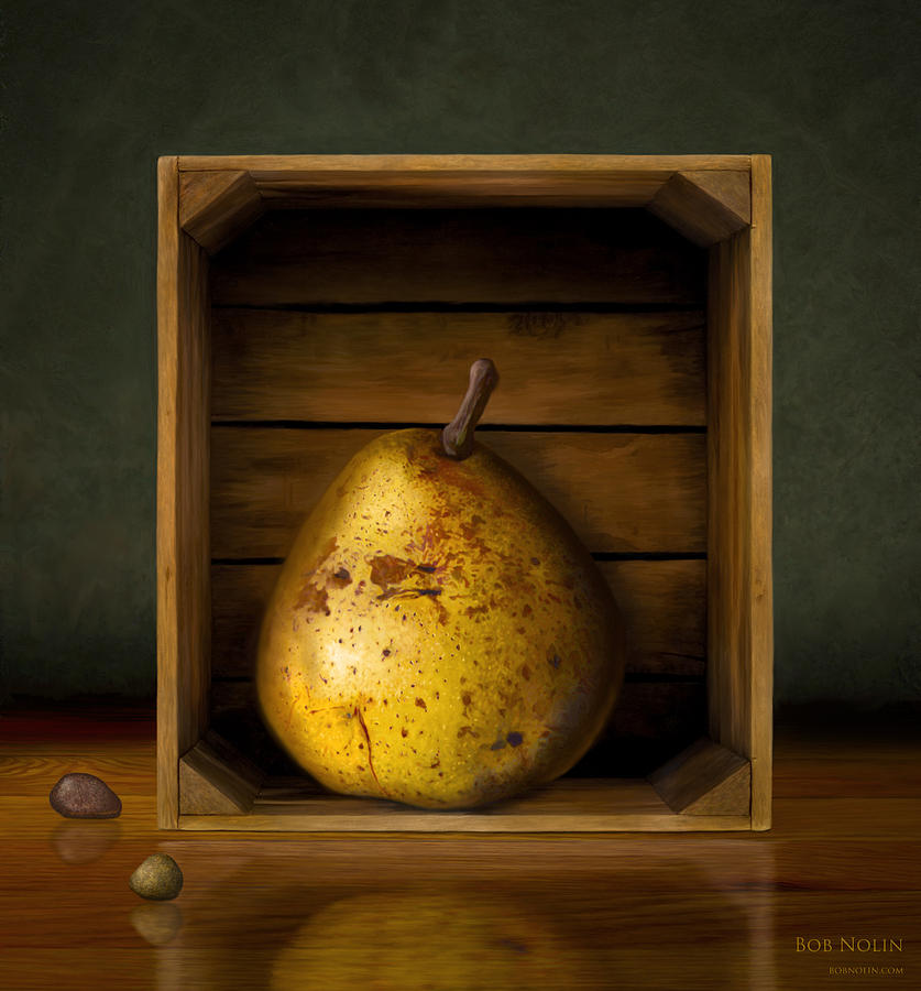 Pear Digital Art - Tribute To Magritte by Bob Nolin