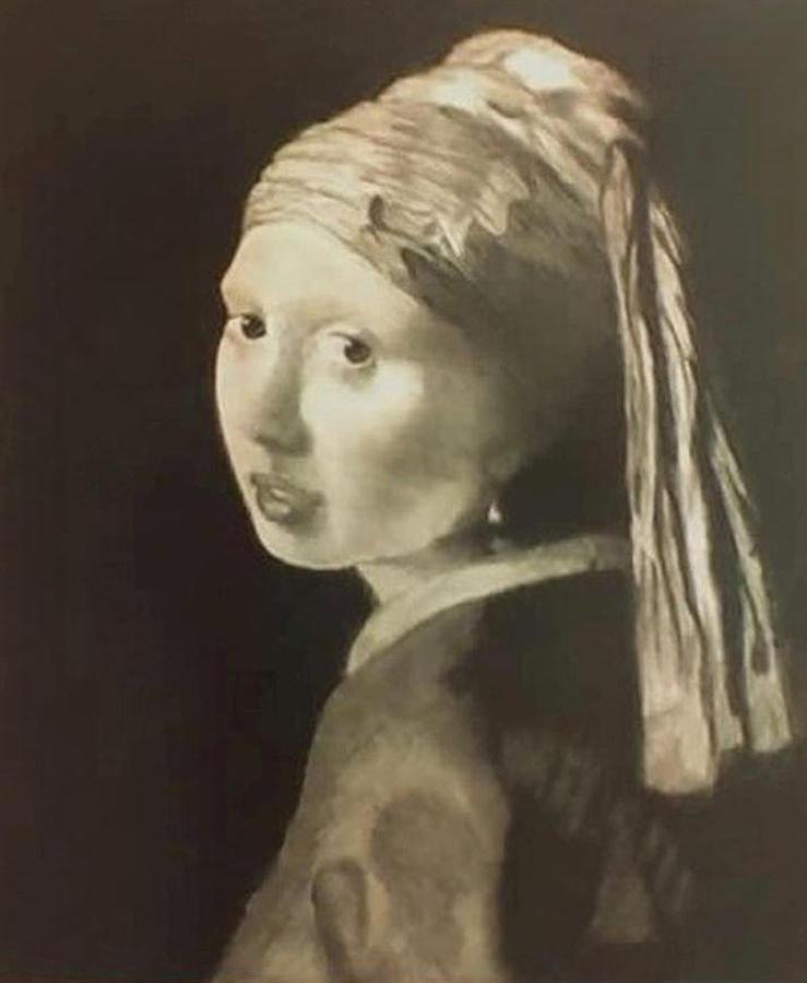 Vermeer Drawing - Tribute To Vermeer Homenaje A Jan Vermeer by Fernando A Hernandez