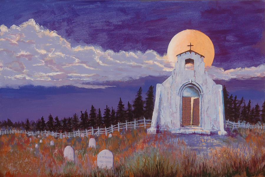 Church Painting - Trick Or Treat by Jerry McElroy