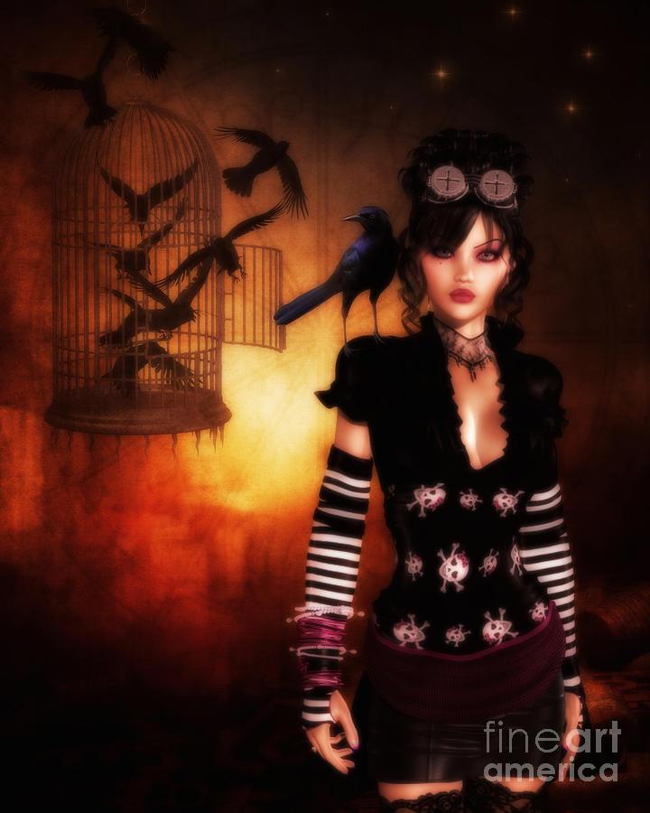 Steam Punk Digital Art - Trickster And Her Minions by Putterhug  Studio