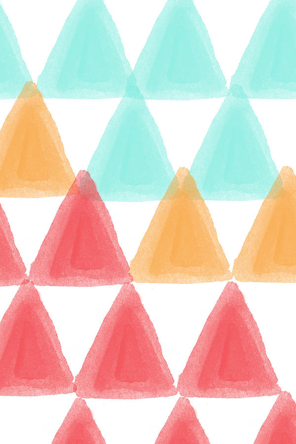 Triangles Painting - Trifold- colorful abstract pattern painting by Linda Woods