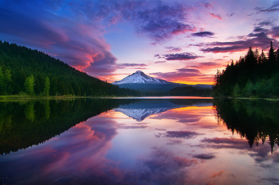 Trillium Lake Photograph - Trillium Lake Sunrise by Darren  White