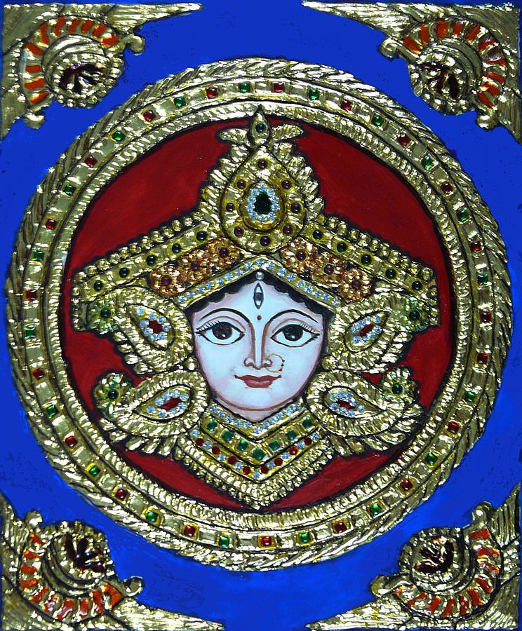 Goddess Durga Painting - trinetra Durgaji by Vimala Jajoo
