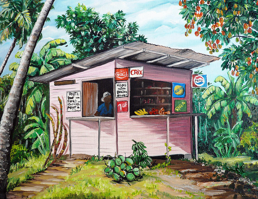 Trini roti shop painting by karin dawn kelshall best for Trini homes