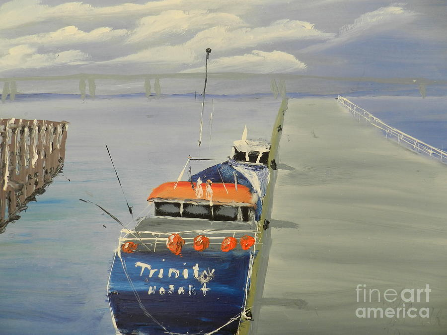 Impressionism Painting - Trinity Long Line Fishing Trawler At San Remo  by Pamela  Meredith