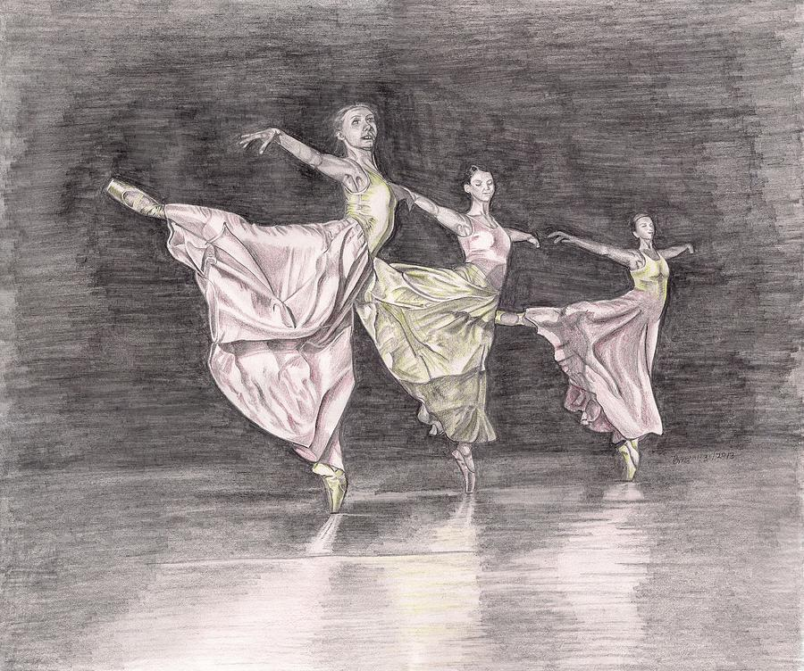 Ballet Mixed Media - Trio Of Grace by Beverly Marshall