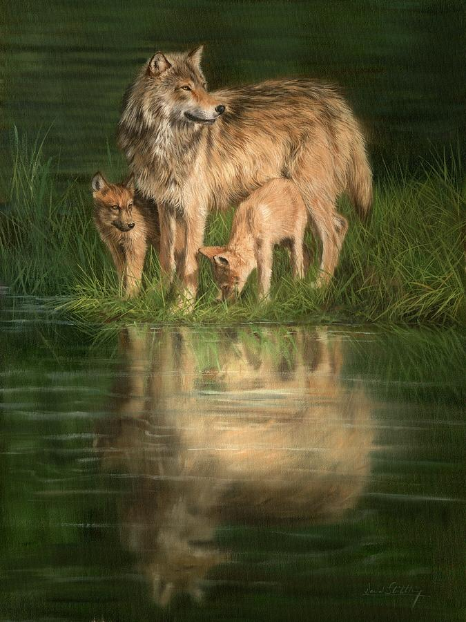 Trio Of Wolves Painting