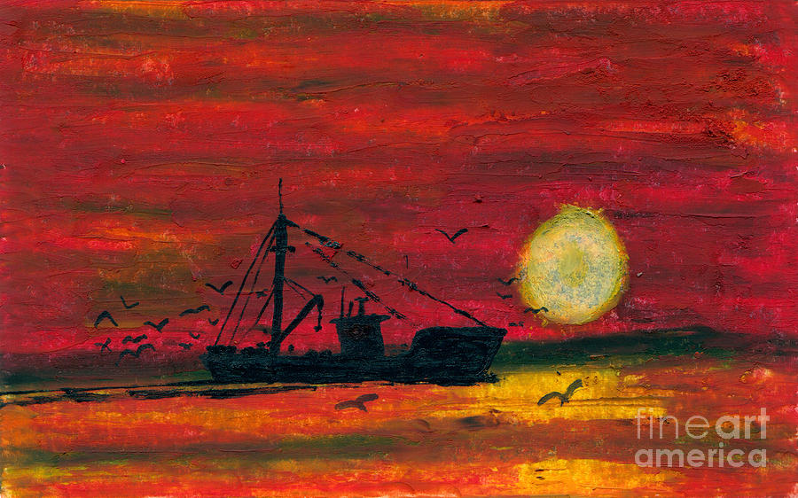 Art Artwork Painting Kyllo Sea Ocean Water Saltwater Boat Ship Orange Red Reddish Yellow Sunset Sunrise Silhouette Sun Oil Pastel Fishing Mast Reflection Day Peace Peaceful Calm Calming Relax Relaxed Relaxing Restful Quiet Diesel Trawl Trawler Evening Gear  Light Dark Birds Seagull Seagulls Gulls Gull Painting - Trip Home by R Kyllo
