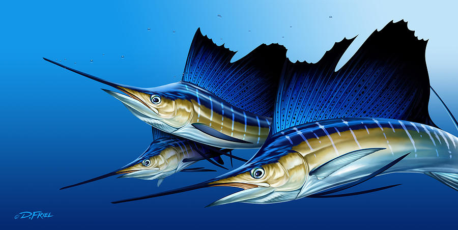Marine Life Digital Art - Triple by Dennis Friel