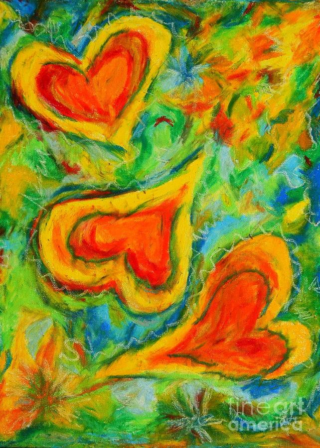 Joyful Hearts Pastel - Triple Hearts by Kelly Athena