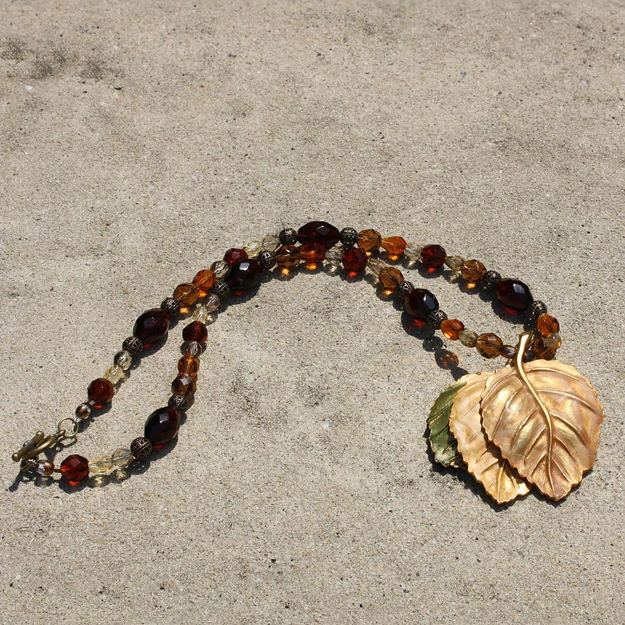 Origianl Handmade Jewelry Jewelry - Triple Leaf Costume Brooch Pendant Necklace 3637 by Teresa Mucha