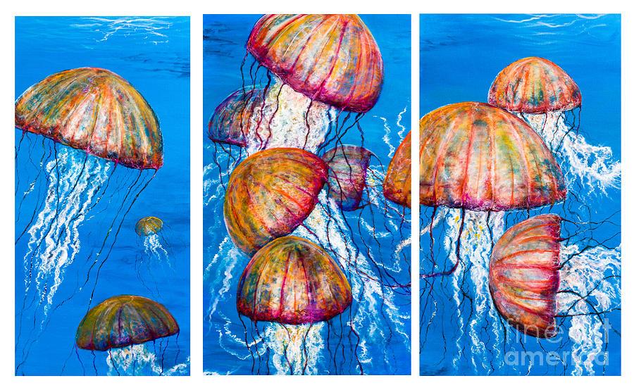 Sea Nettles Painting - Triple Medusa   by John Garland  Tyson