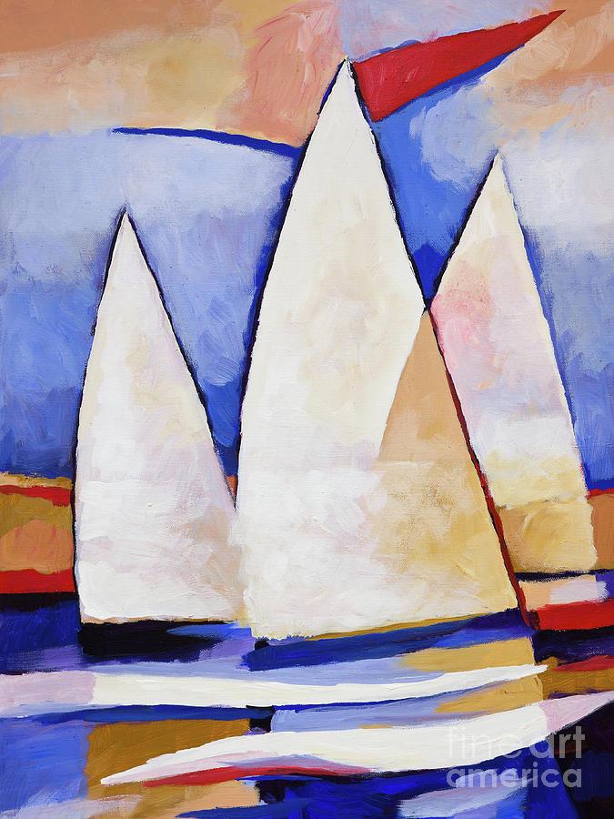 Sails Painting - Triple Sails by Lutz Baar