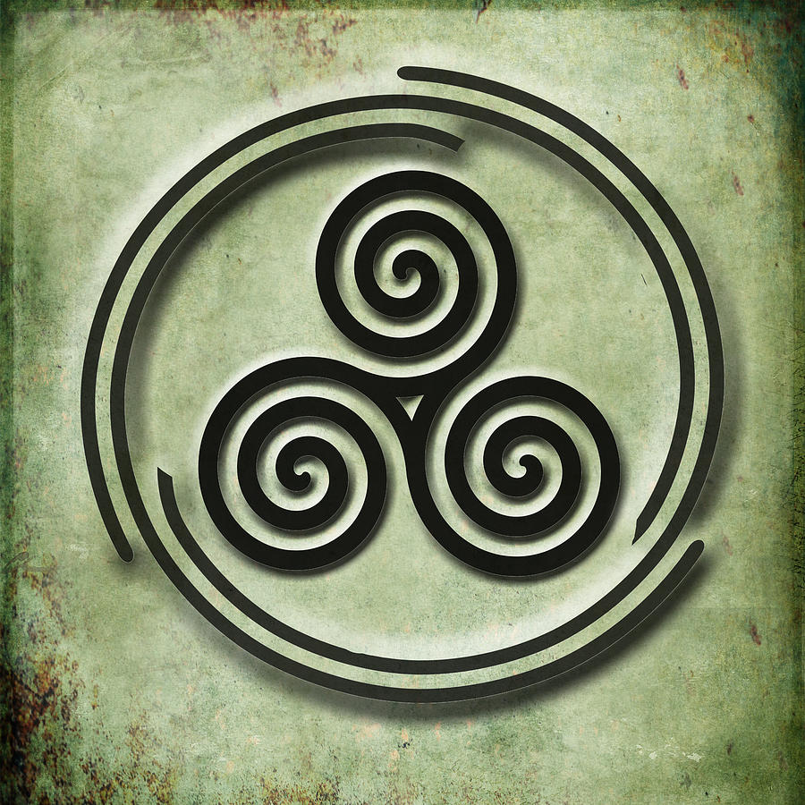 Triple Spiral Black And Green Celtic Art Painting By Kandy Hurley