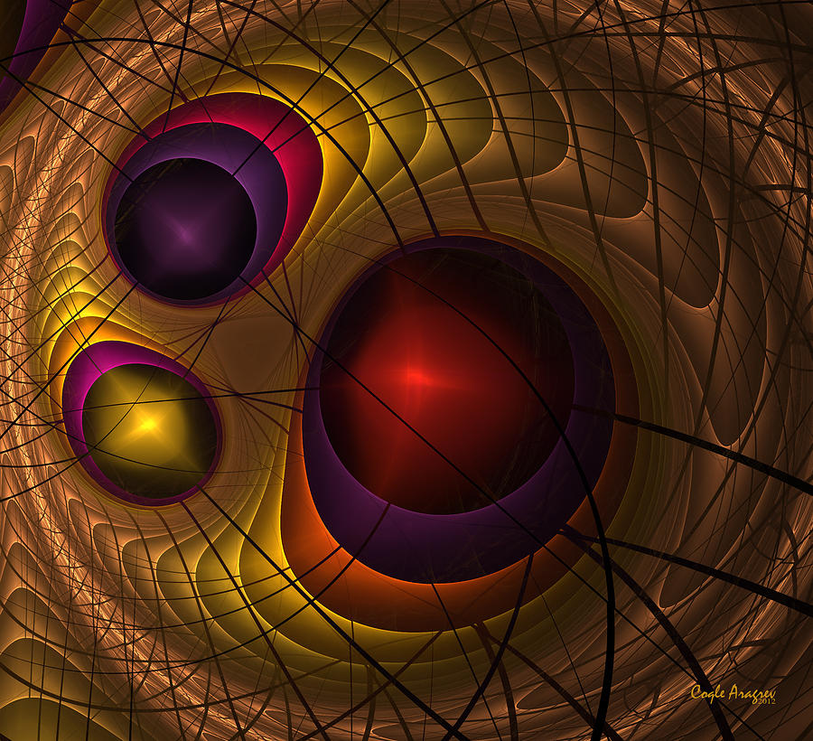Fractal Drawing - Triple Yin Yang  by Coqle Aragrev
