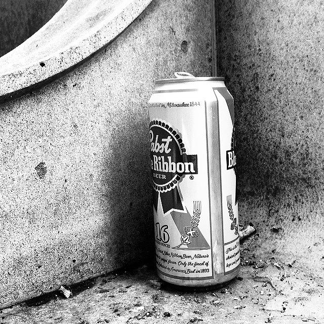 Urban Photograph - Tripleb. Beer, Butts, Bench. #chicago by Paul Velgos