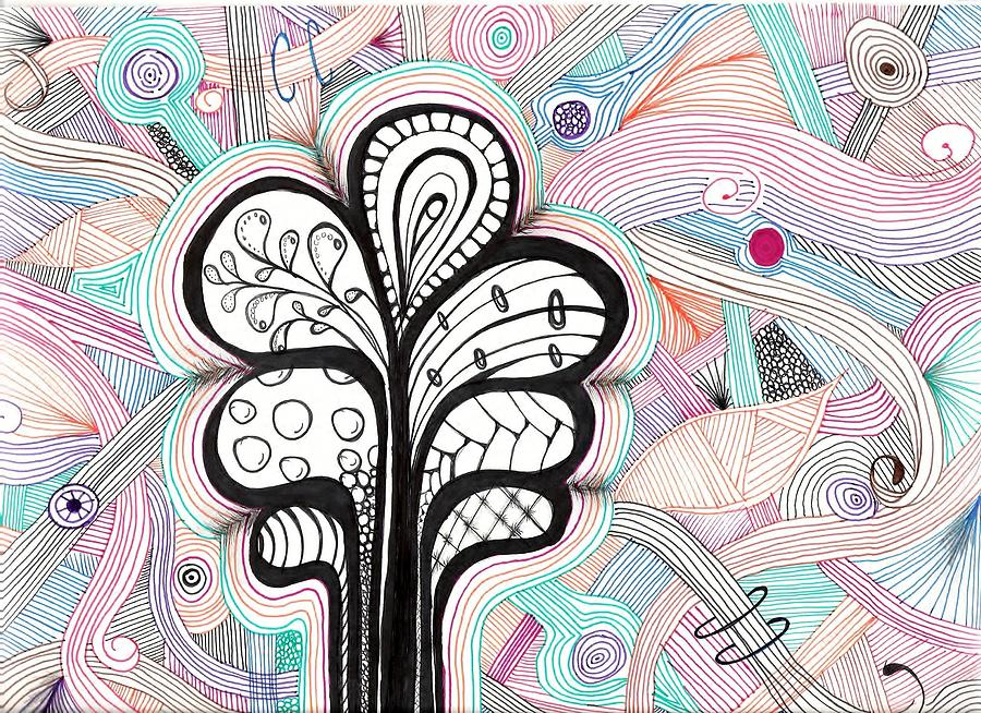Doodle Drawing - Trippy Trees by Lori Thompson