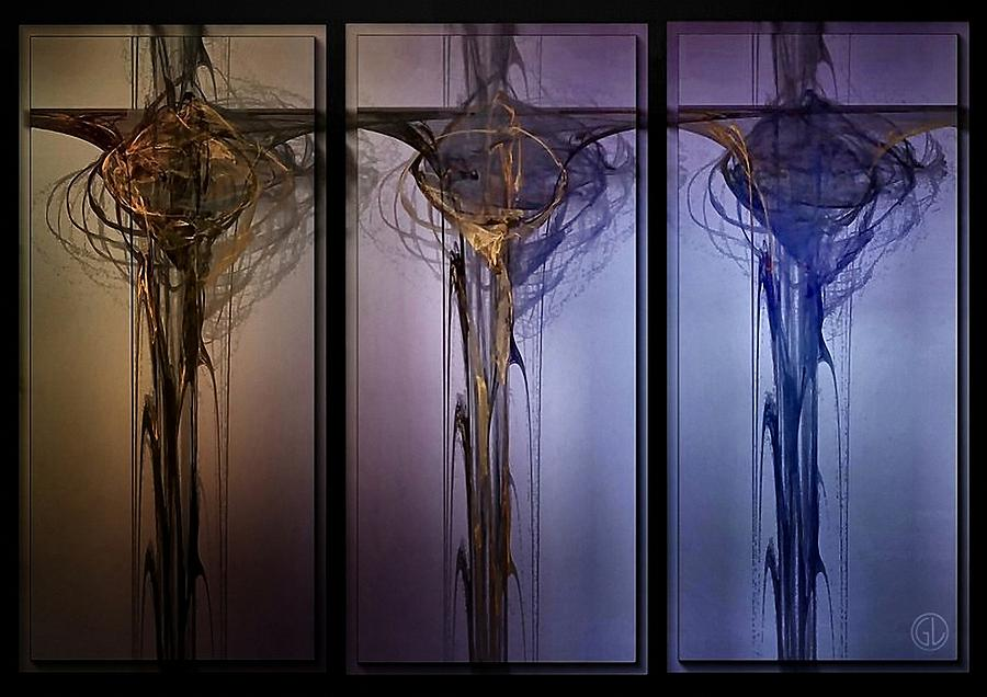 Abstract Digital Art - Triptych 1 by Gun Legler