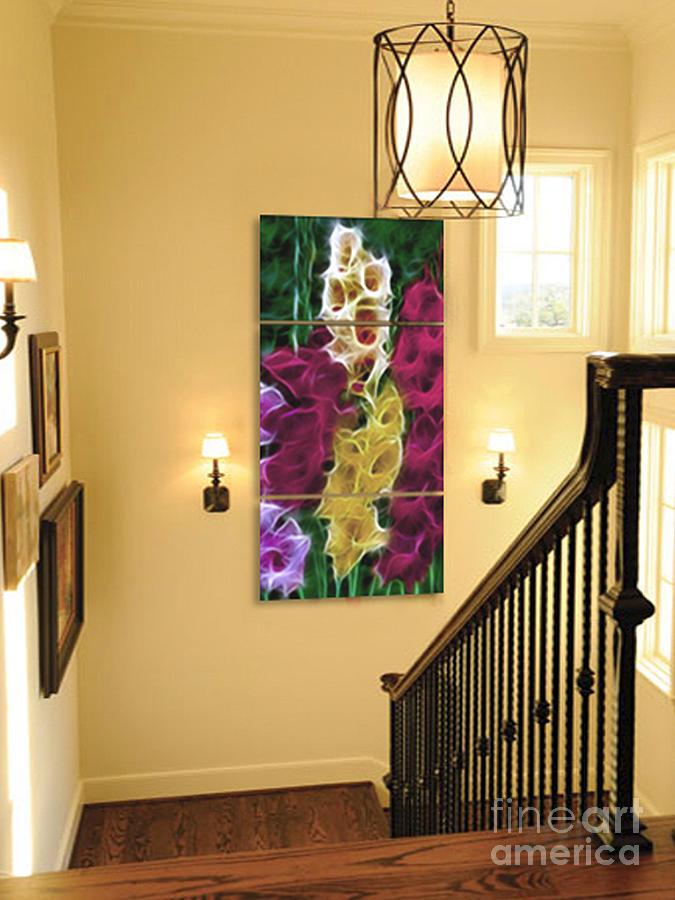 Gladiola Photograph - Triptych Display Sample 06 by Peter Piatt