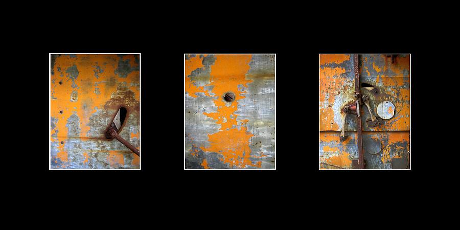 Ann Powell Photograph - Triptych Old Metal Series by Ann Powell