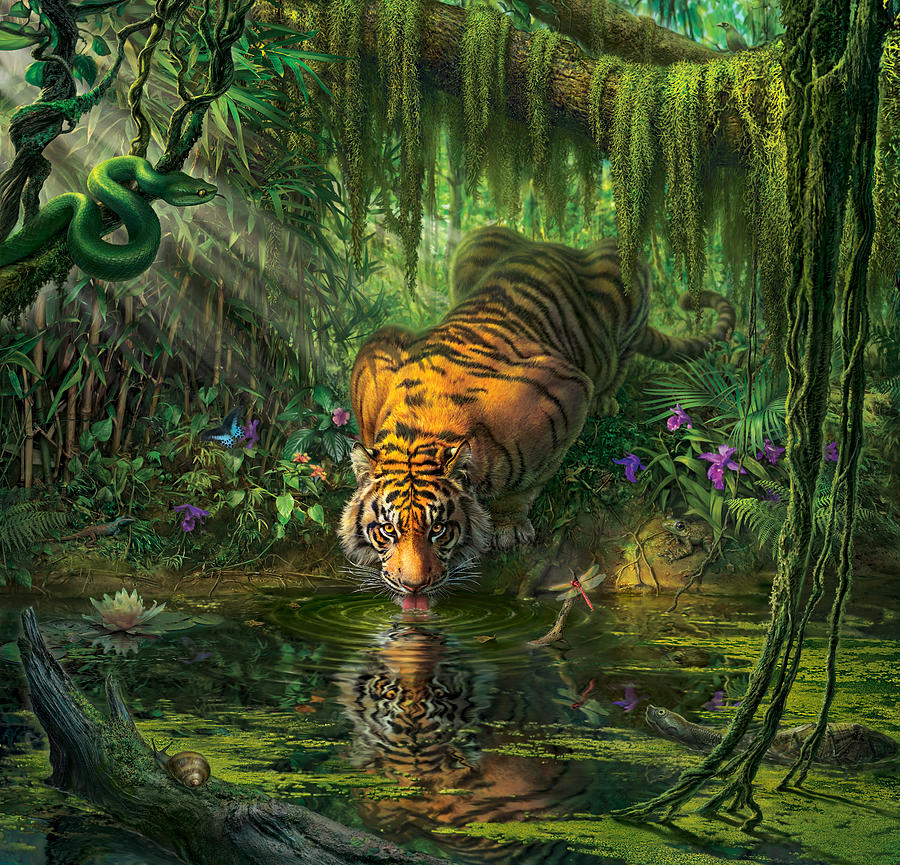 Bamboo Digital Art -  Auroras Garden by Mark Fredrickson