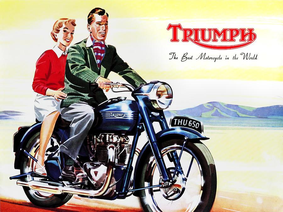 Vintage Motorcycle Photograph - Triumph 1953 by Mark Rogan
