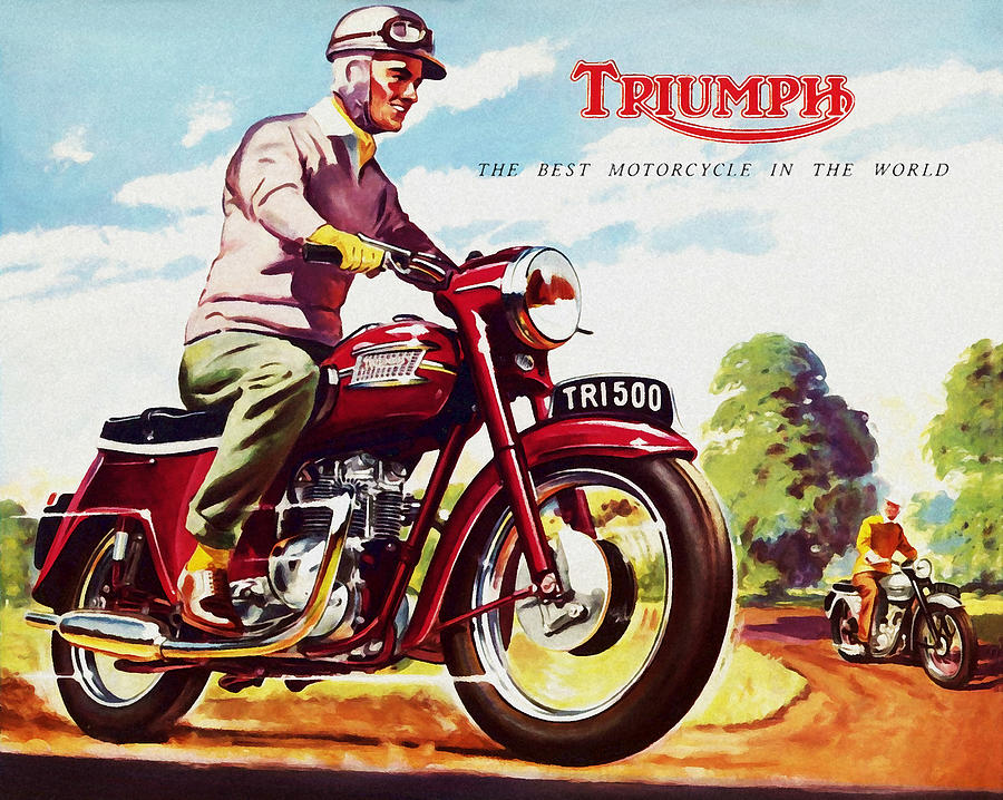 Vintage Motorcycle Photograph - Triumph 1958 by Mark Rogan