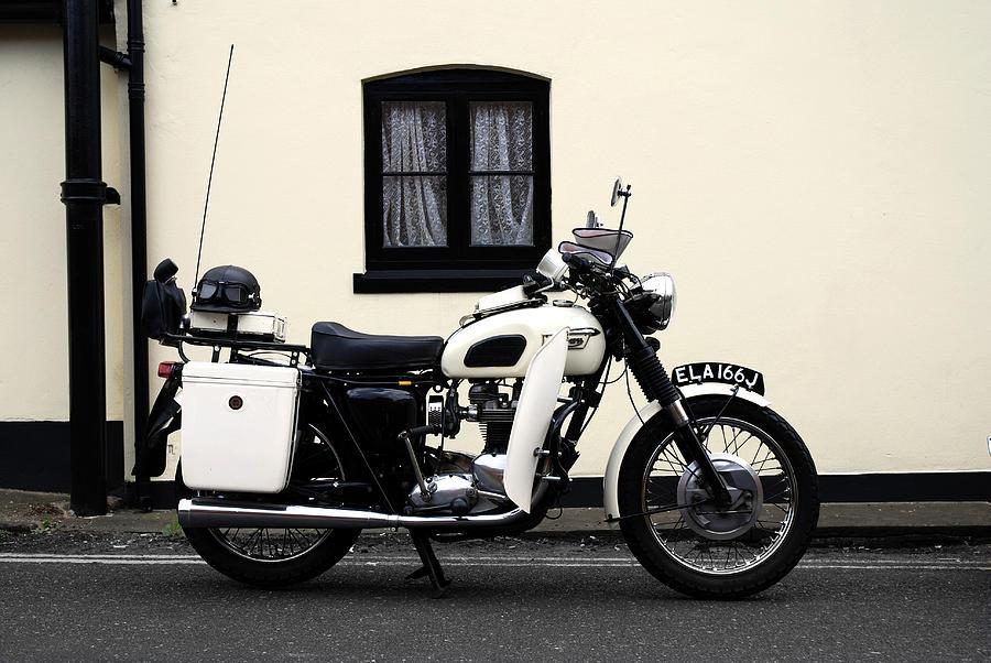 Triumph Motorcycle Photograph - Triumph Metropolitan Police by Mark Rogan