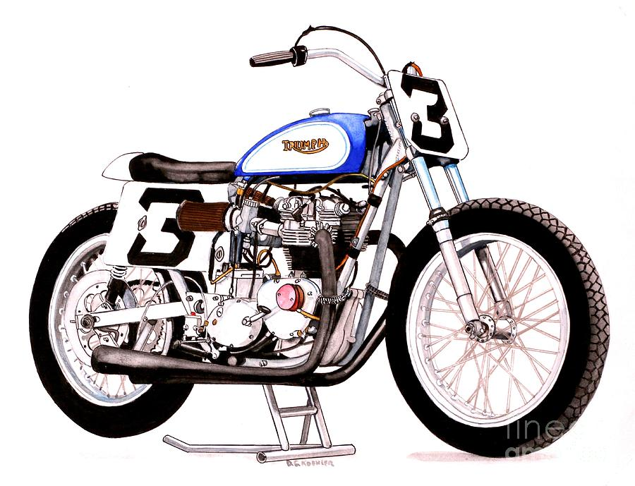 Triumph Trackmaster Race Bike Painting By Donald Koehler