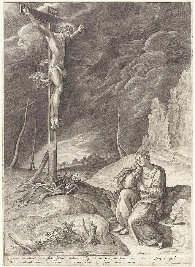 Crucified Drawing - Triumphant Christ On The Cross, Hieronymus Wierix by Hieronymus Wierix And Hans Liefrinck (i)