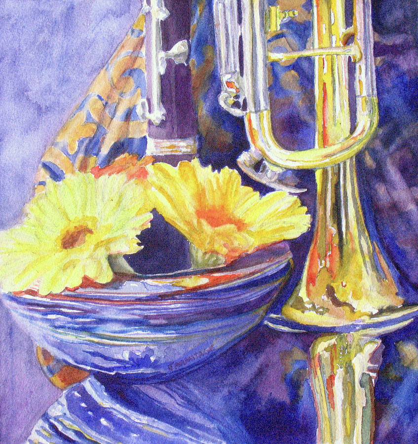 Trumpet Painting - Triumphant Daisies by Jenny Armitage