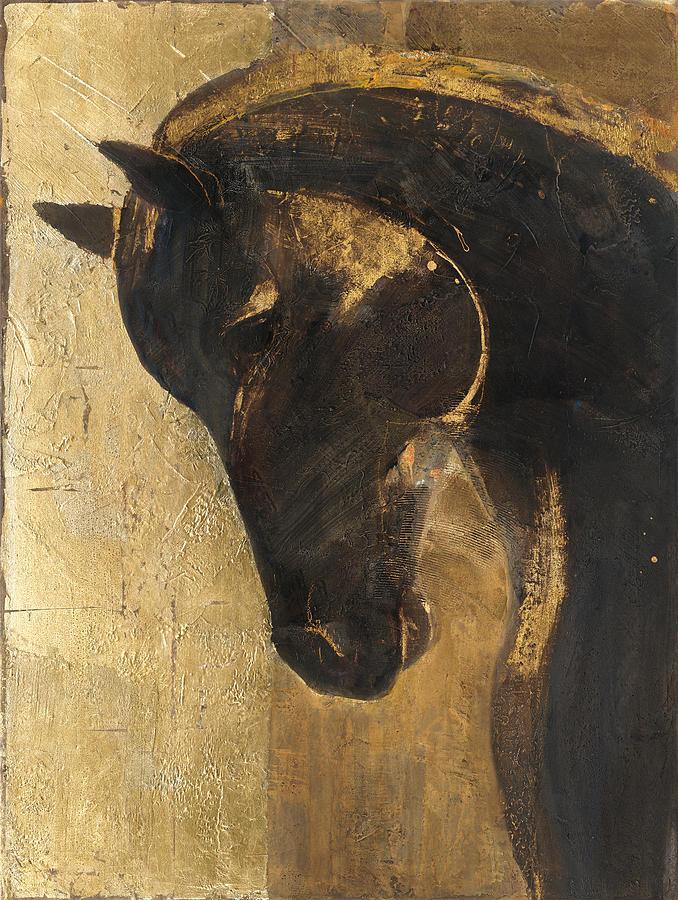 Animal Painting - Trojan Horse II Gold by Albena Hristova