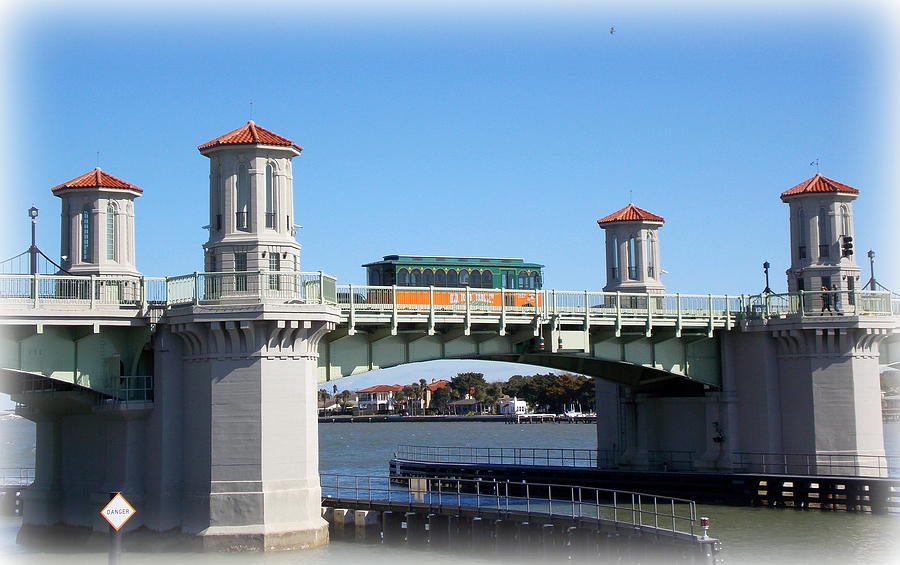 St Augustine Photograph - Trolley On Bridge Of Lions by Sheri McLeroy