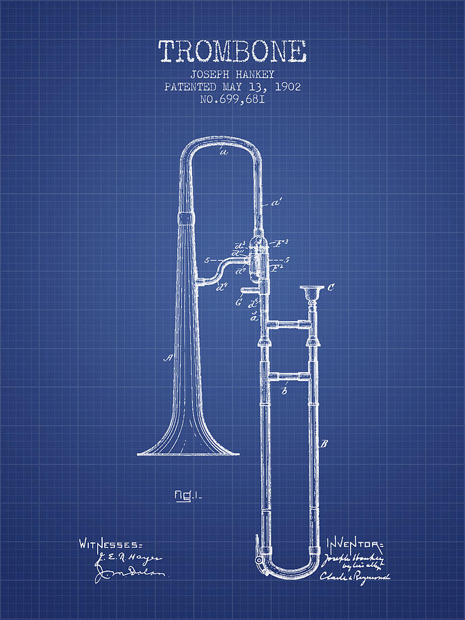 Trombone patent from 1902 blueprint digital art by aged pixel trombone digital art trombone patent from 1902 blueprint by aged pixel malvernweather Gallery