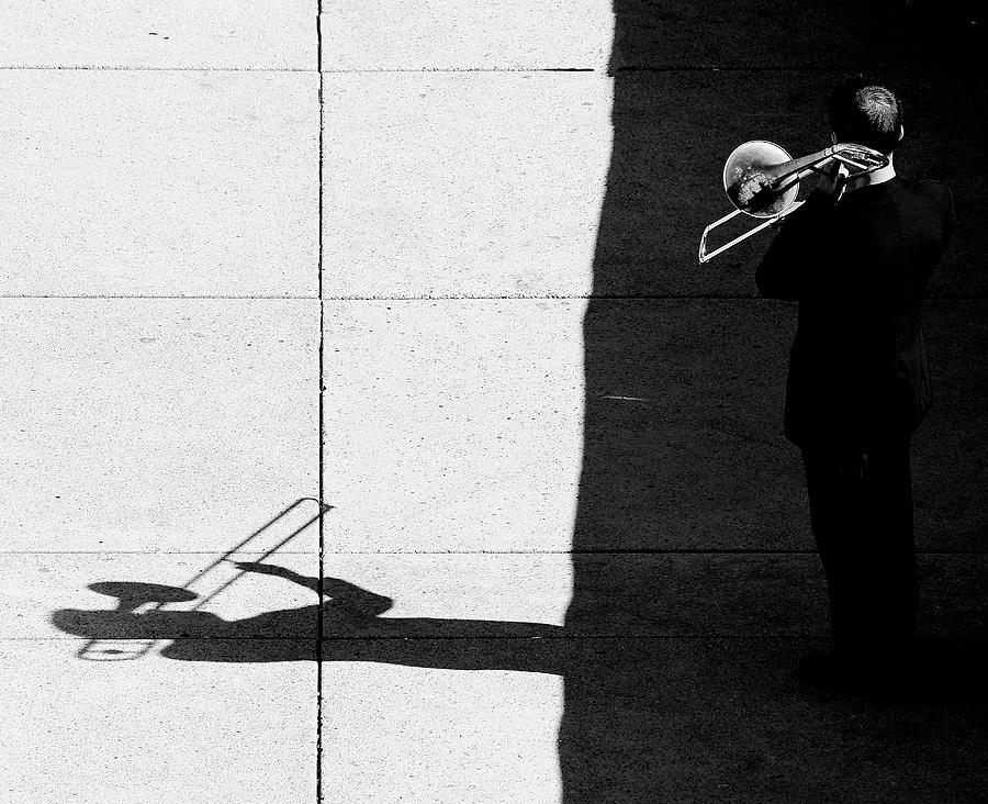 Street Musician Photograph - Trombone Player by Jian Wang