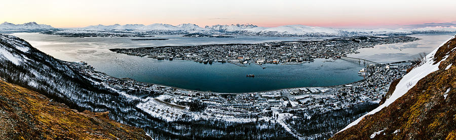 Tromso Photograph - Tromso From The Mountains by Dave Bowman