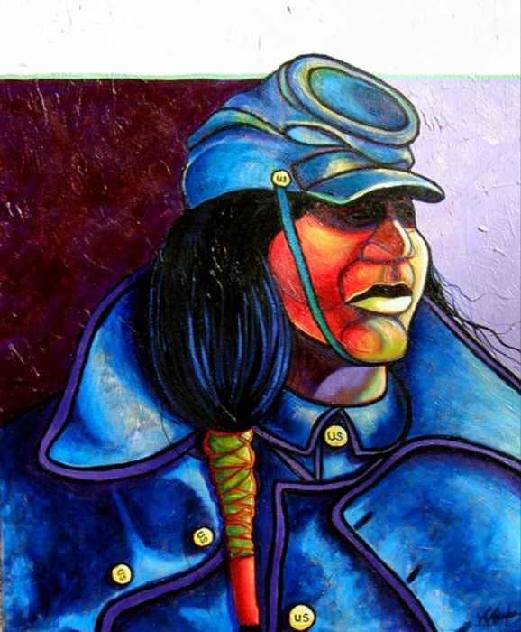 Native American Painting - Trooper Crow-horse by Joe  Triano