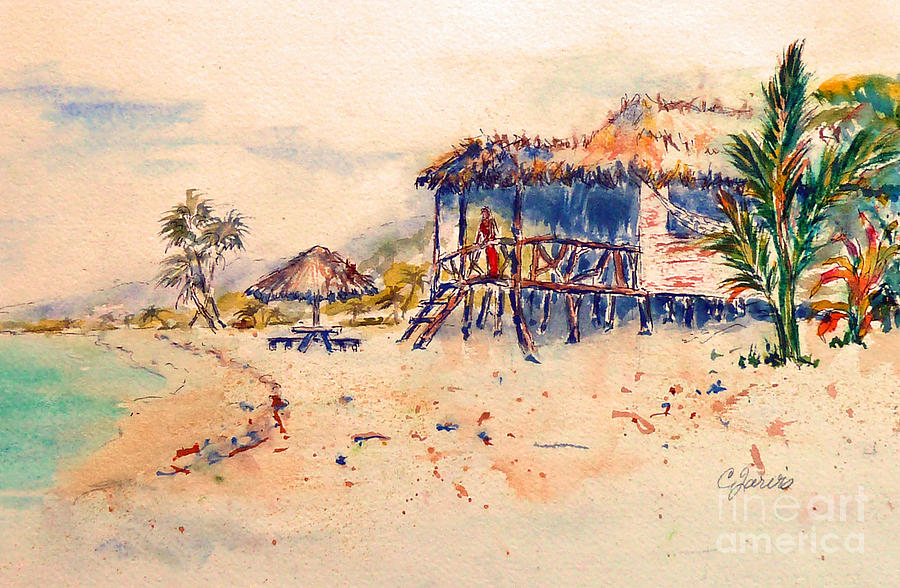 Tropical Beach Huts: Tropical Beach Hut Painting By Carolyn Jarvis