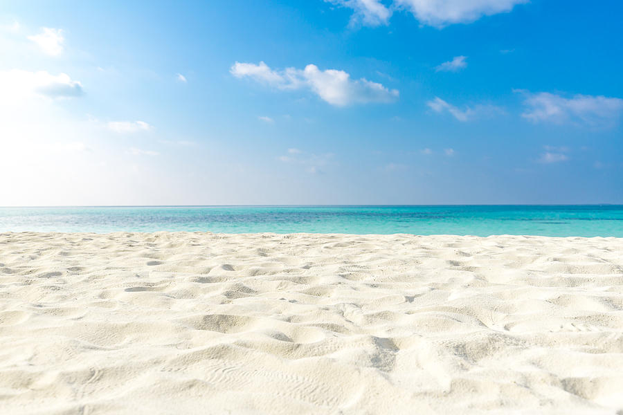 Tropical beach sea sand sky and summer day. Empty sea and beach background with copy space Photograph by Levente Bodo