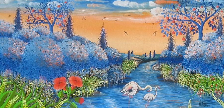 Landscape Painting - tropical beauty #2 By Frantz Petion by Frantz Petion
