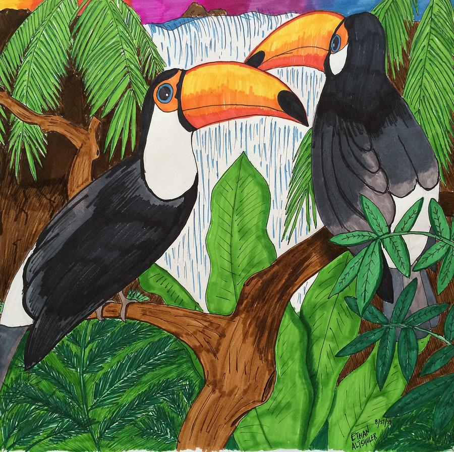 Toucans Painting - Toucans by Ethan Altshuler