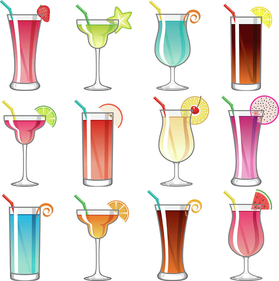 Tropical Cocktail Glass Icons Set Digital Art by Bortonia