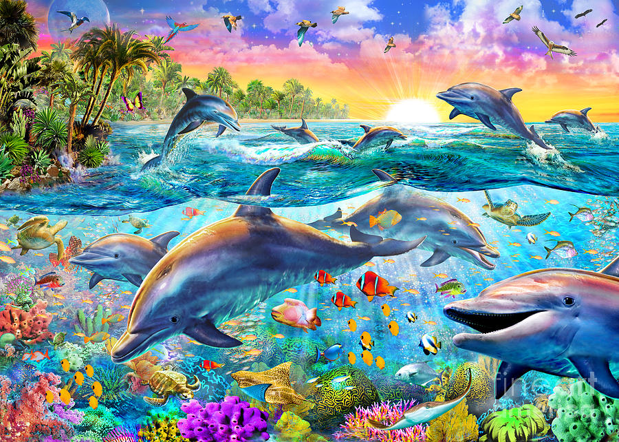 Tropical Dolphins Digital Art by Adrian Chesterman