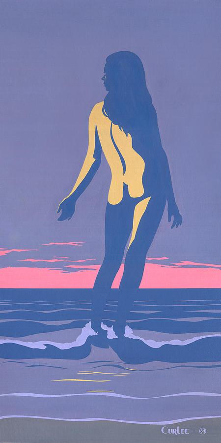 Tropical Painting - Tropical Exotic Nude Surf Sunset tasteful original pop art nouveau 80s painting purple pink by Walt Curlee