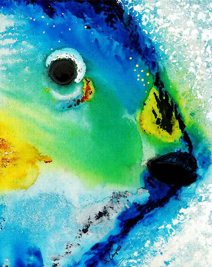 Parrot Fish Painting - Tropical Fish 2 - Abstract Art By Sharon Cummings by Sharon Cummings