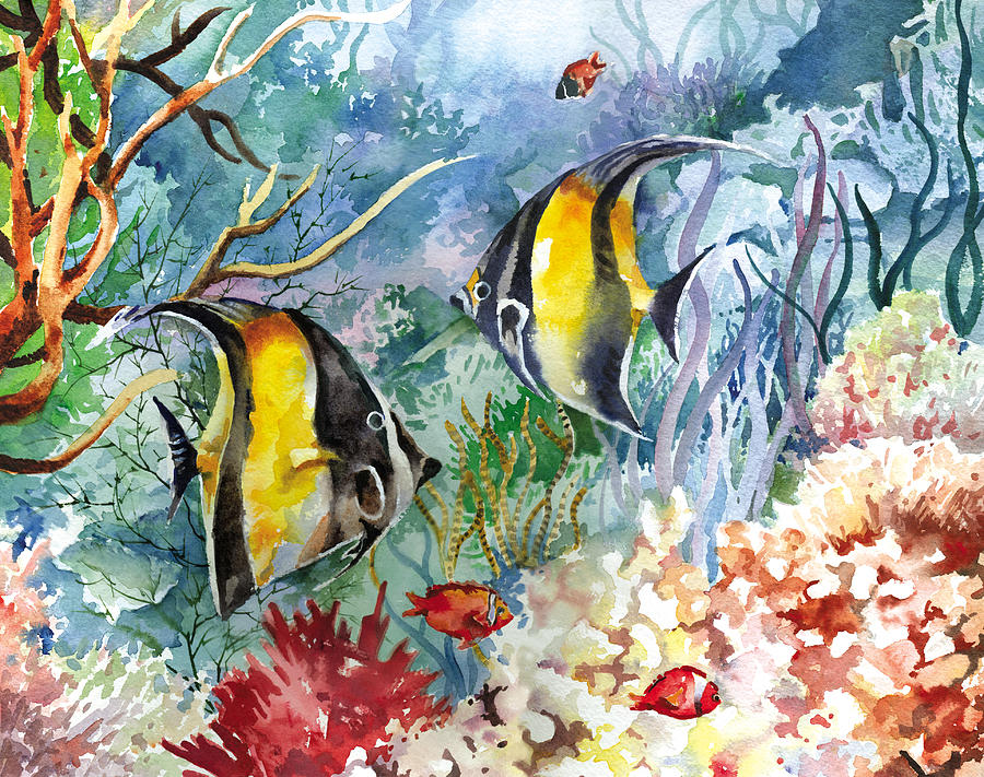 Tropical fish and coral painting by beth kantor for Paintings of fish