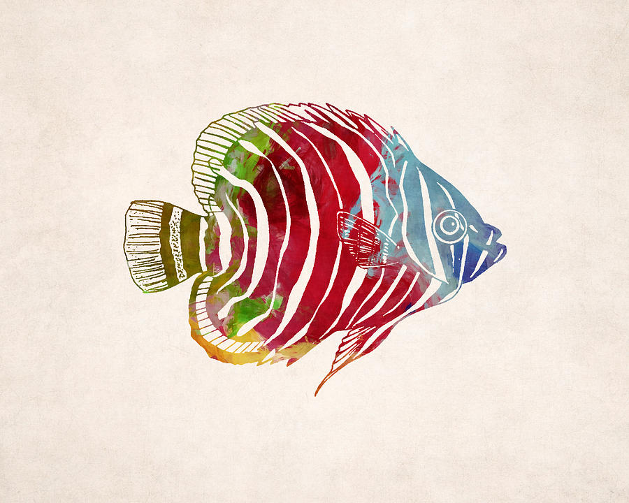 Tropical Fish Drawing Digital Art by World Art Prints And Designs