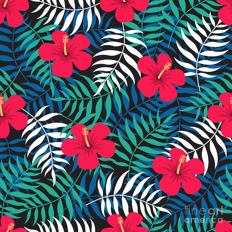 Tropical Floral Seamless Pattern With Digital Art by Ekaterina Bedoeva