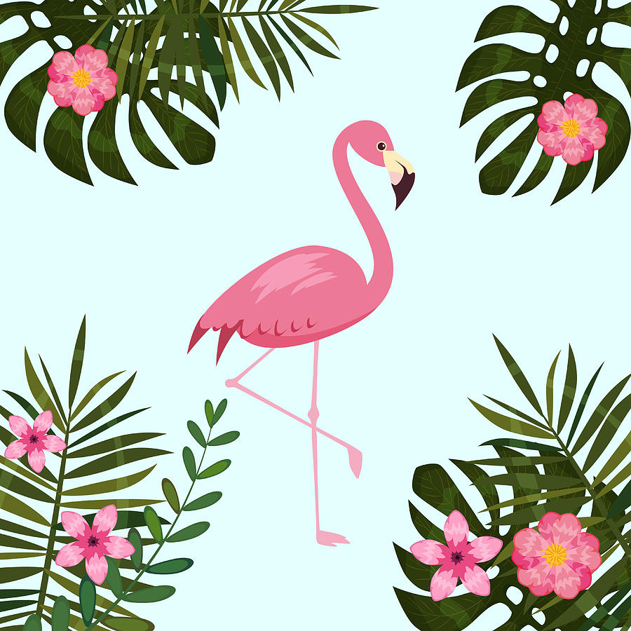 Tropical Flowers And Flamingo Summer Banner Graphic Background Exotic Floral Invitation Flyer Or Card Modern Front Page In Vector Cartoon Style