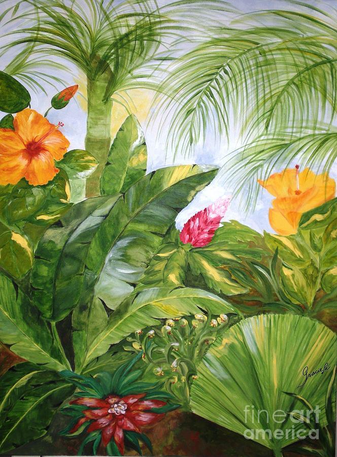 Tropical Garden Painting By Graciela Castro